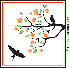 birds in a tree with leaves, flowers