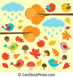 Birds in autumn forest