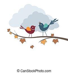 Birds in branch