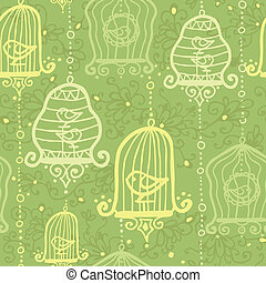 Birds in cages seamless pattern background