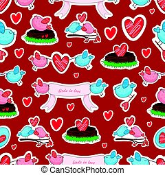Birds in love and friendship seamless background.