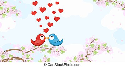 Birds in love on blossom branches