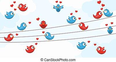 Birds in love on strings