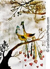 Birds in love - romantic peacocks illustration, engraving ...