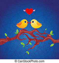 birds in love sitting on a branch