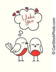 Birds in love. The cute card for Valentine's Day