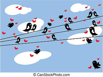 birds in love - birds sitting on wire, vector background