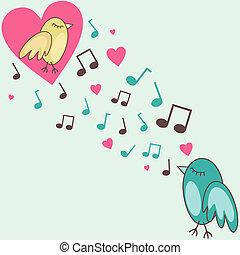 vector illustration of birds singing a love song