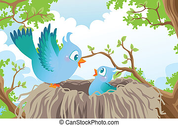 Birds in nest - A vector illustration of birds in the nest