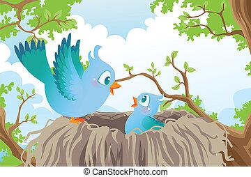 Birds in nest - A vector illustration of birds in the nest
