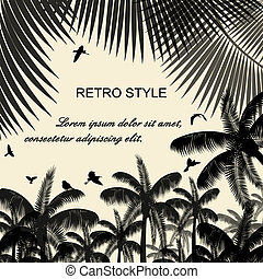 Birds in the palms and flying on retro style background, ...