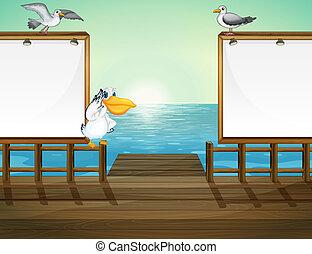 Birds in the port - Illustration of birds in the port