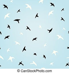 Birds in the sky flying seamless pattern, illustration