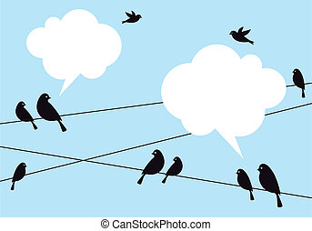 birds in the sky, vector background - birds on wire in blue...