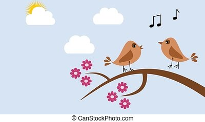 birds in the spring singing