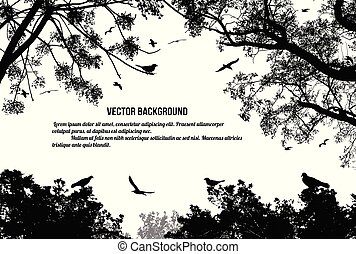 Birds in the tree and flying on white background