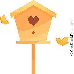 birds., isolate., casa, dois, amarela, caricatura, fundo,...