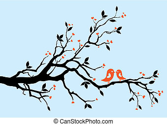 birds kissing on a branch, vector background