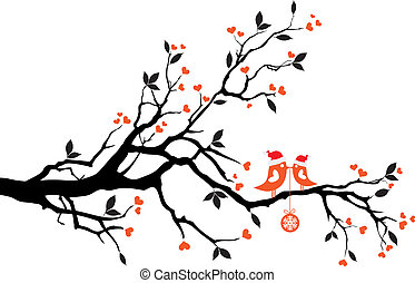 birds kissing on a tree, vector