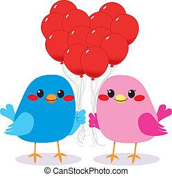 Birds Love Heart Balloons - Cute bird couple in love holding...