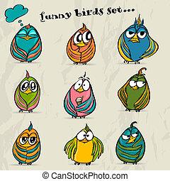 birds., lustiges, satz, 9, karikatur