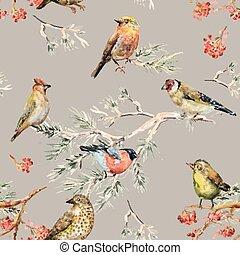 birds., mignon, seamless, texture, tableau aquarelle