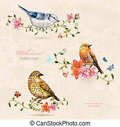 birds., mignon, tableau aquarelle, collection