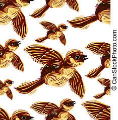 Birds migration seamless pattern. Sparrow flock graphic...