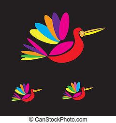Multicolored birds flying vector