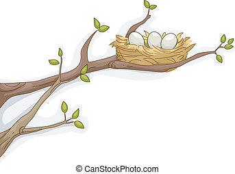 Bird's Nest - Illustration Featuring a Bird's Nest Resting...