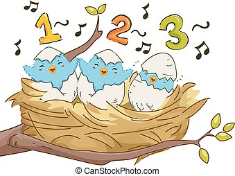 Birds Nest Sing 123 Illustration