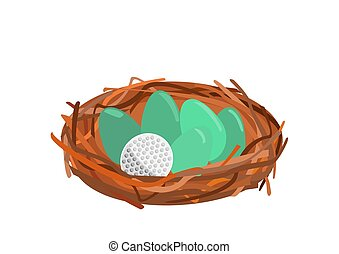 Birds nest with green eggs and one golf ball