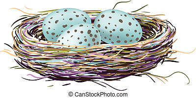 Bird's nest with robin eggs. Drawn with illustrator's brushes and gradient mesh.