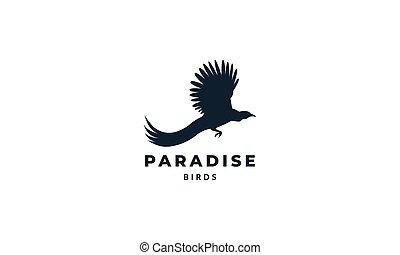 Birds-of-paradise silhouette fly logo vector illustration design