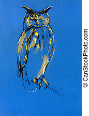 Original pastel and hand drawn painting or working sketch of owl. Free composition of birds of prey. rapacious birds.