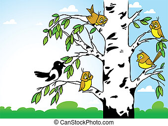 Birds on a birch