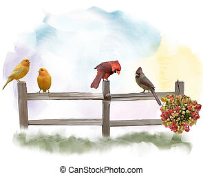 Birds on a Fence watercolor