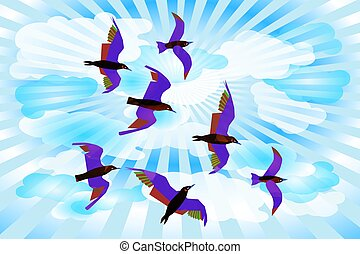 Birds on a sky background with clouds and rays