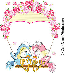birds on a swing - The illustration shows a pair of...