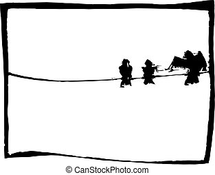 Three birds resting on a telephone wire.