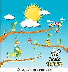 birds on branch. cartoon summer illustration.