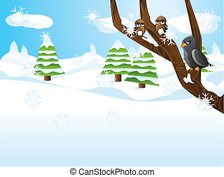 Birds on branch - Winter landscape with tree branch and...