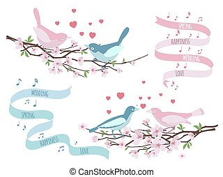 Birds on branches for wedding invitations