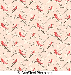 Birds on branches pink cute pattern seamless vector.