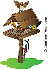 Birds on feeder - vector illustration.