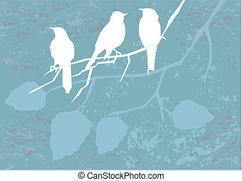 birds on grunge - vector birds on grunge background