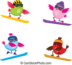 Birds on snouborde - Image of cartoon birds that are engaged...