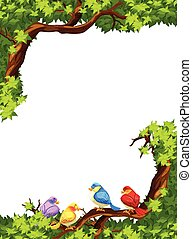 Birds on the branch of a tree