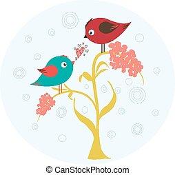 Birds on the flower in love
