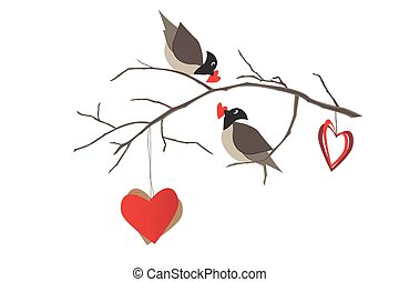 Birds on the tree branch and hearts